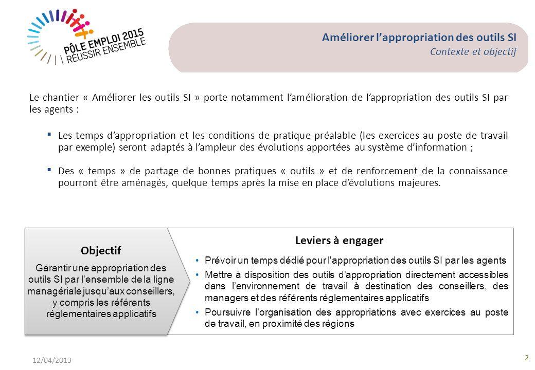 Améliorer lappropriation des outils SI Contexte et objectif 12/04/2013 2 Le chantier « Améliorer les outils SI » porte notamment lamélioration de lapp