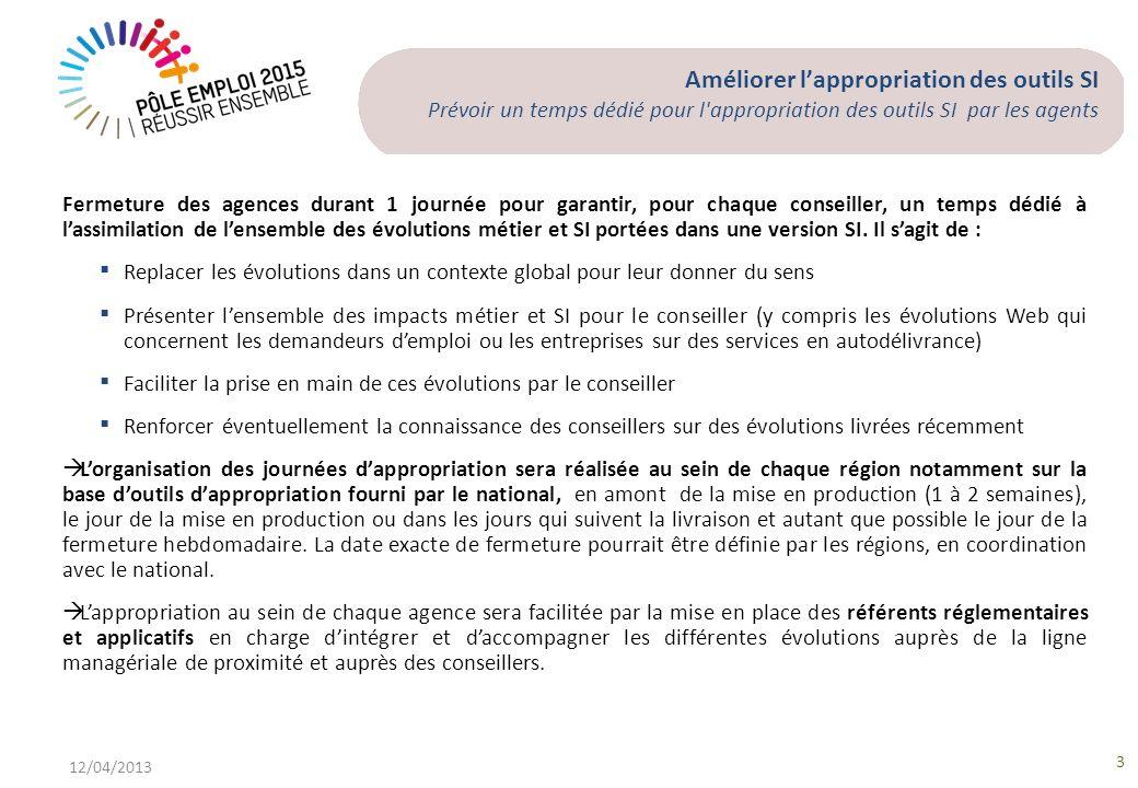 Améliorer lappropriation des outils SI Prévoir un temps dédié pour l'appropriation des outils SI par les agents 12/04/2013 3 Fermeture des agences dur
