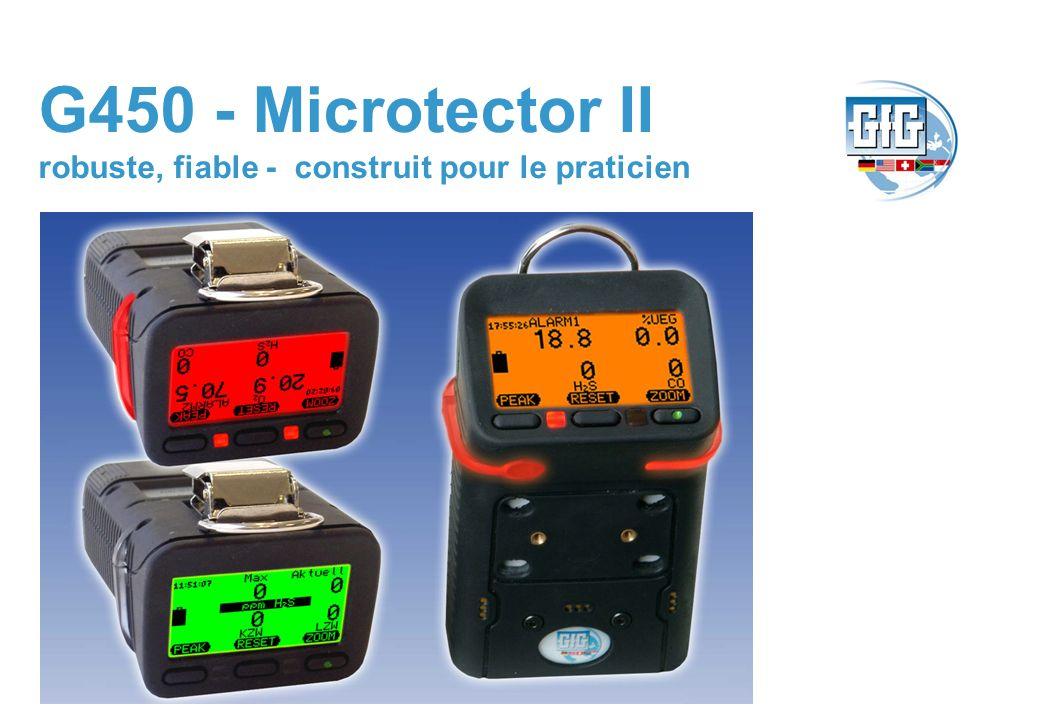 G450 Microtector II – 1,2,3 ou 4 sortes de gaz www.gfg.ch O 2, H 2 S, CO et tous les gaz inflammables alarme 360° point ronde Grand affichage avec des changements de couleurs dune alarme 103 dB corne bruyante 24 heures capacité de batterie 280 gr IP67