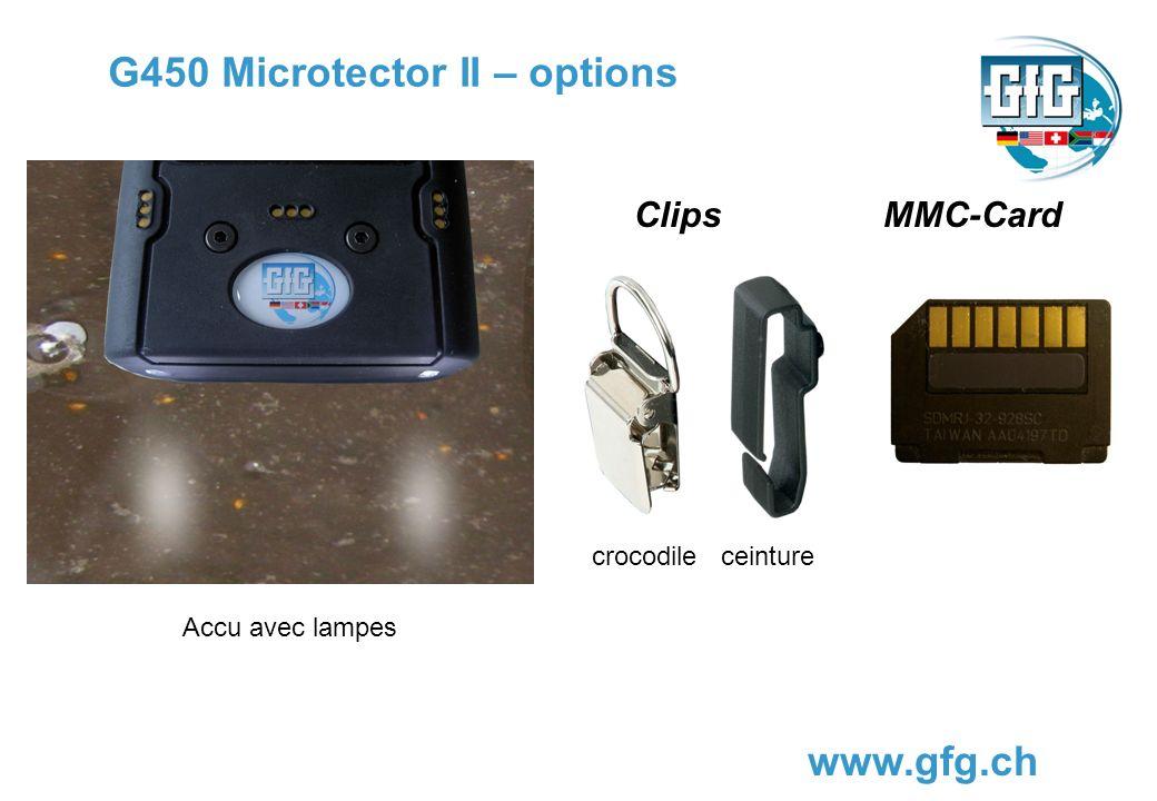 G450 Microtector II – options www.gfg.ch Clips crocodile ceinture MMC-Card Accu avec lampes