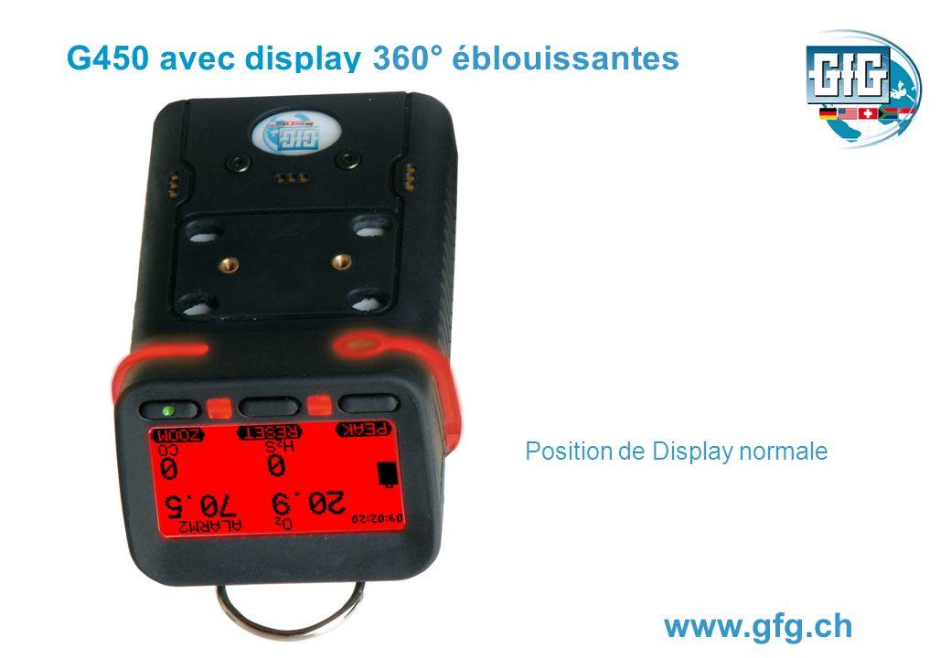G450 avec display 360° éblouissantes www.gfg.ch Position de Display normale