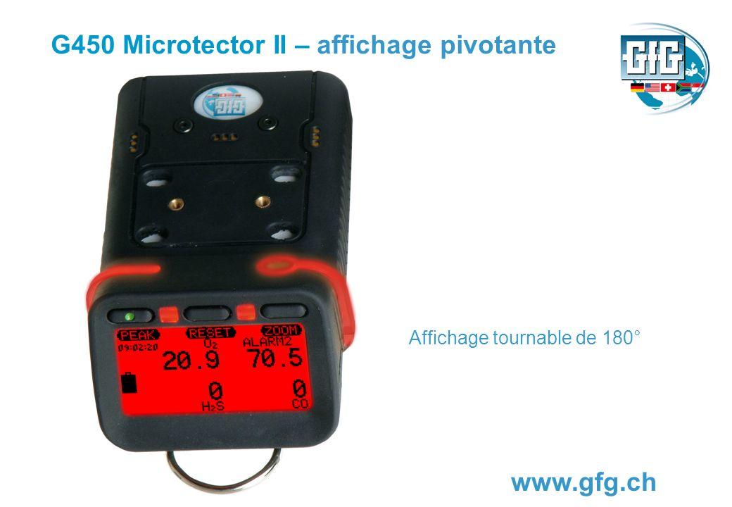 G450 Microtector II – pompe daspiration www.gfg.ch Pour les mesures relatives à autorisation de réservoirs, puits ou locaux, une pompe externe puissante, dalimentation électrique propre, peut être bridée sur lappareil.