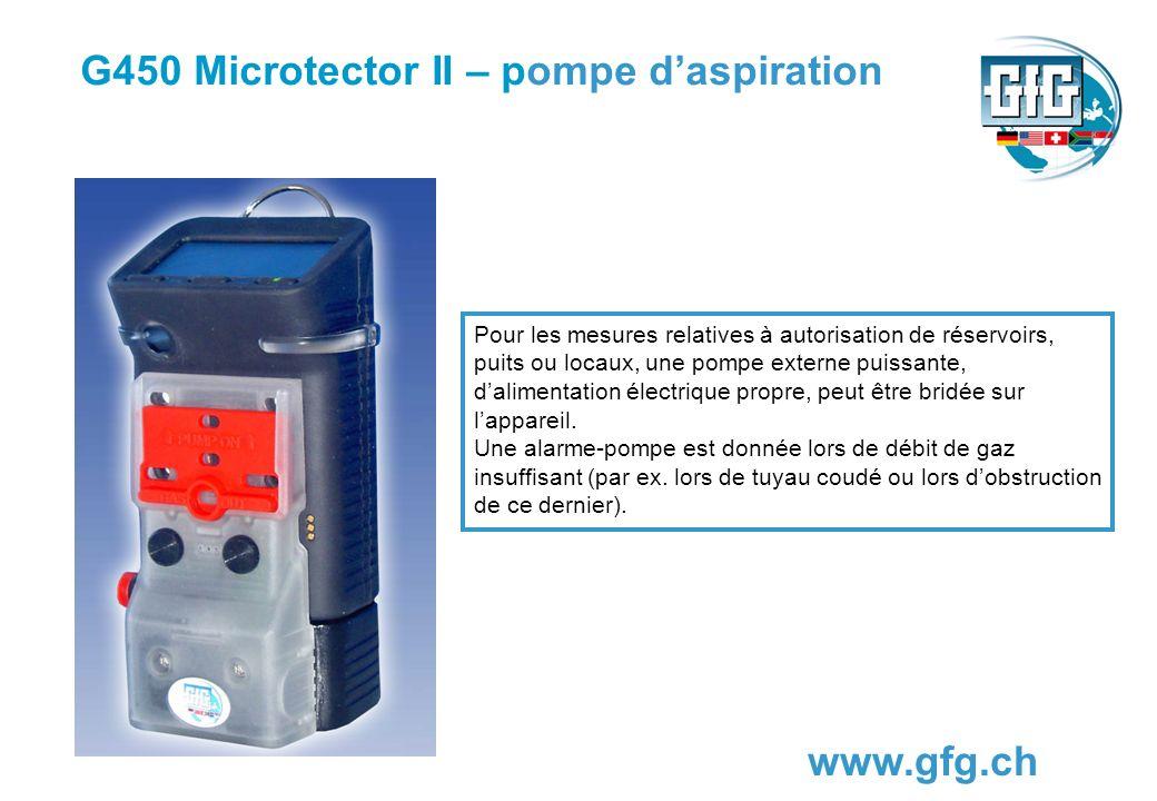 G450 Microtector II – pompe daspiration www.gfg.ch Pour les mesures relatives à autorisation de réservoirs, puits ou locaux, une pompe externe puissan