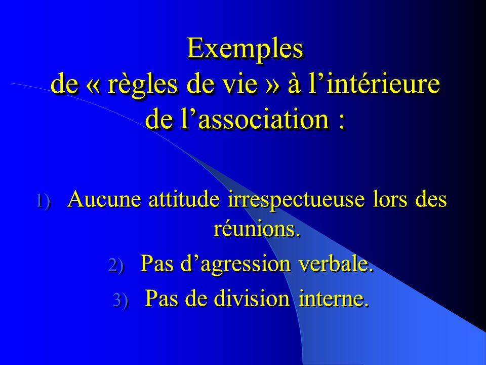 Exemples de règles de fonctionnement : 1) Dates et lieux des réunions. 2) Montant de la cotisation annuelle. 3) Activités proposées par lassociation.