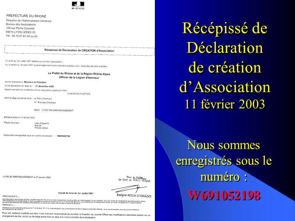 Récépissé de Déclaration de création dAssociation 11 février 2003 Nous sommes enregistrés sous le numéro : W691052198 Nous sommes enregistrés sous le numéro : W691052198