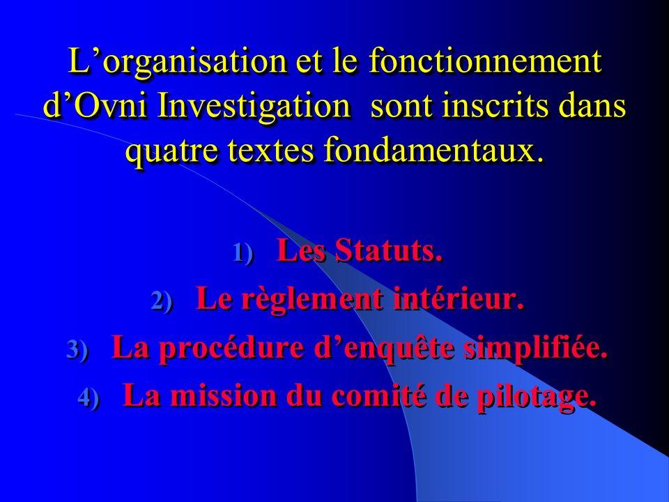 Lorganisation et le fonctionnement dOvni Investigation sont inscrits dans quatre textes fondamentaux.