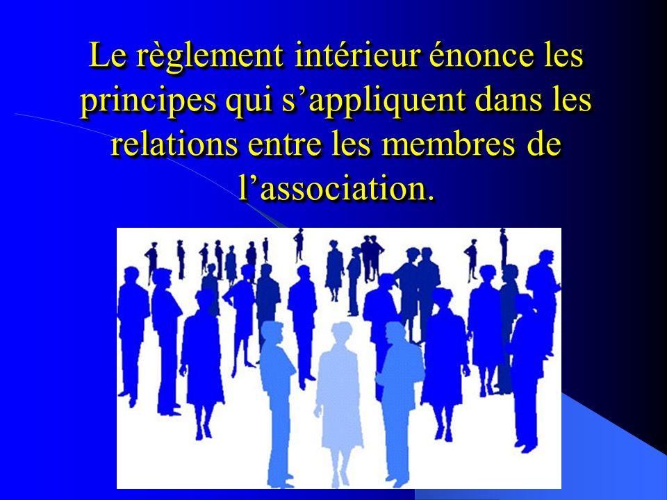 Le règlement intérieur énonce les principes qui sappliquent dans les relations entre les membres de lassociation.