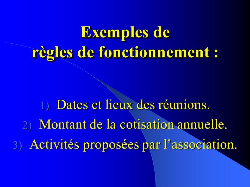 Exemples de règles de fonctionnement : 1) Dates et lieux des réunions.