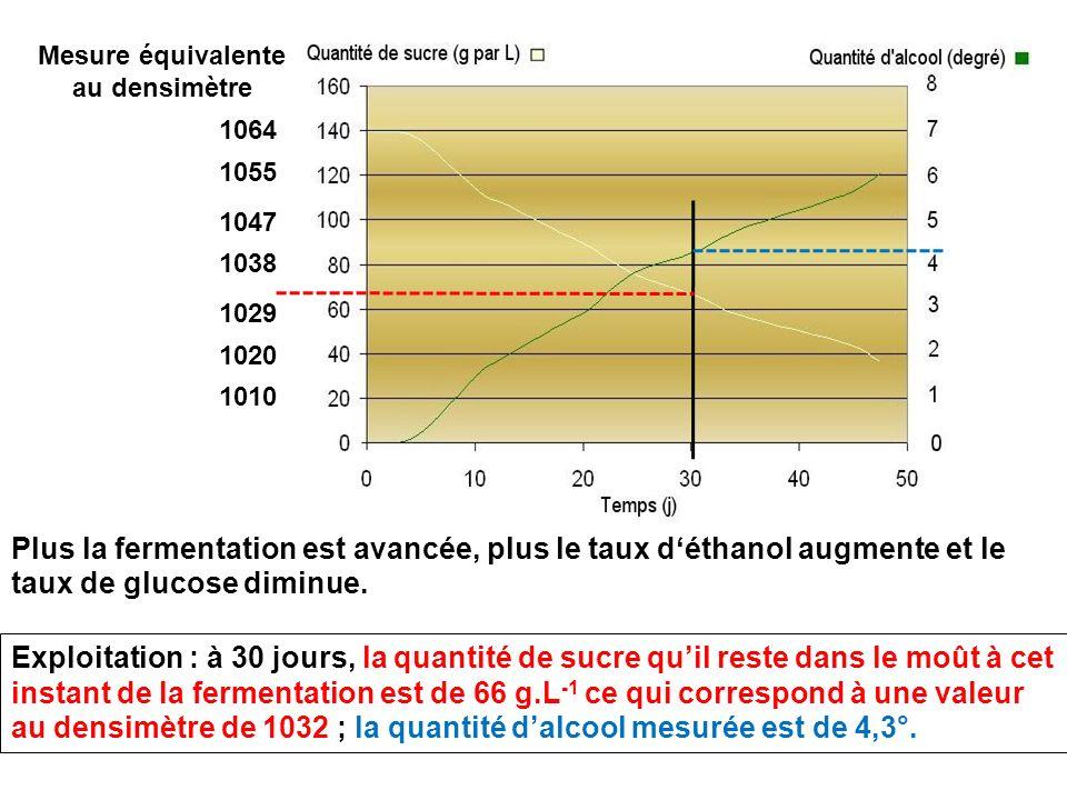 Plus la fermentation est avancée, plus le taux déthanol augmente et le taux de glucose diminue. Mesure équivalente au densimètre 1064 1055 1047 1038 1