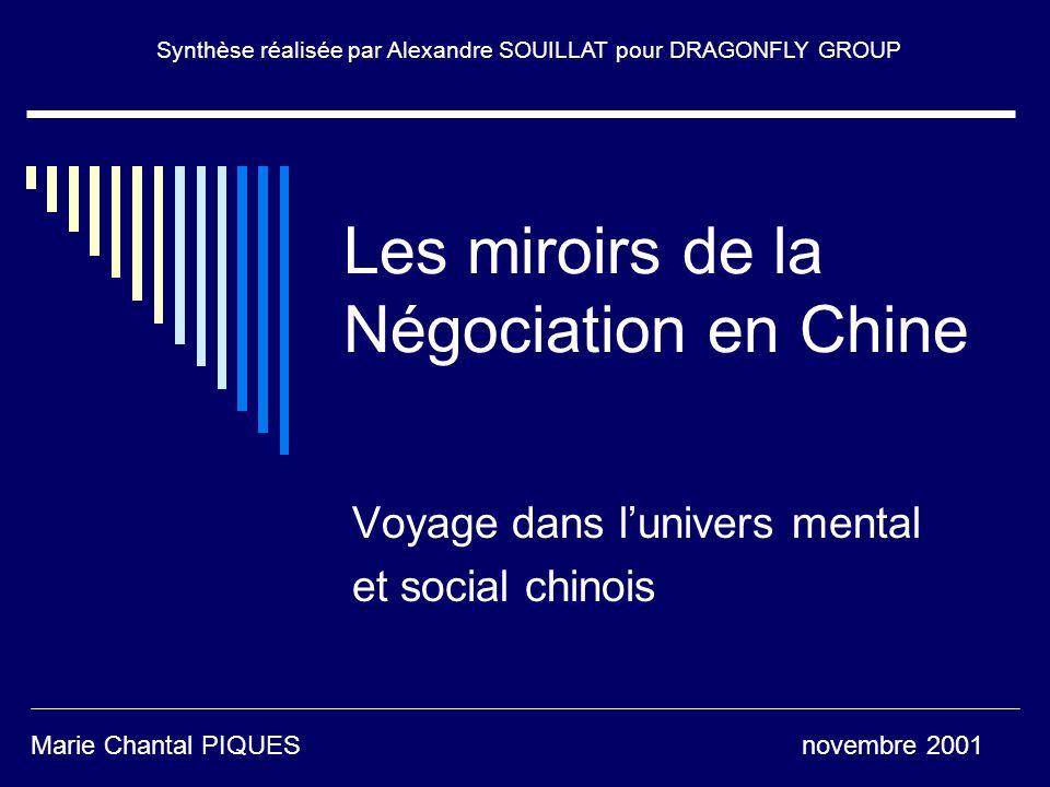 Les miroirs de la Négociation en Chine Voyage dans lunivers mental et social chinois Marie Chantal PIQUES novembre 2001 Synthèse réalisée par Alexandr