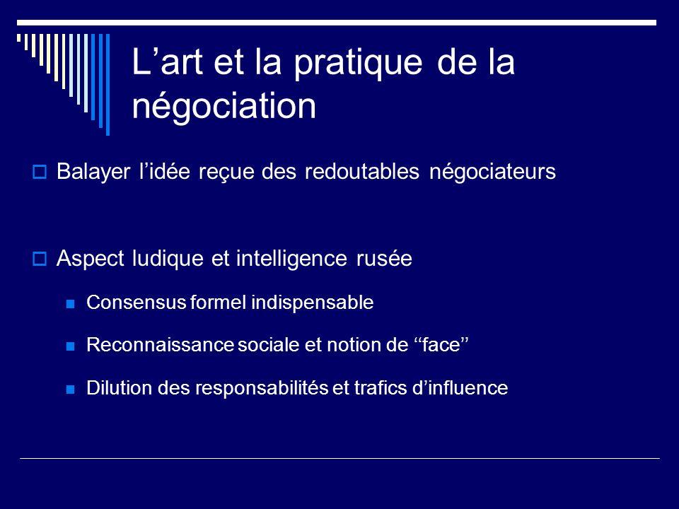 Lart et la pratique de la négociation Balayer lidée reçue des redoutables négociateurs Aspect ludique et intelligence rusée Consensus formel indispens