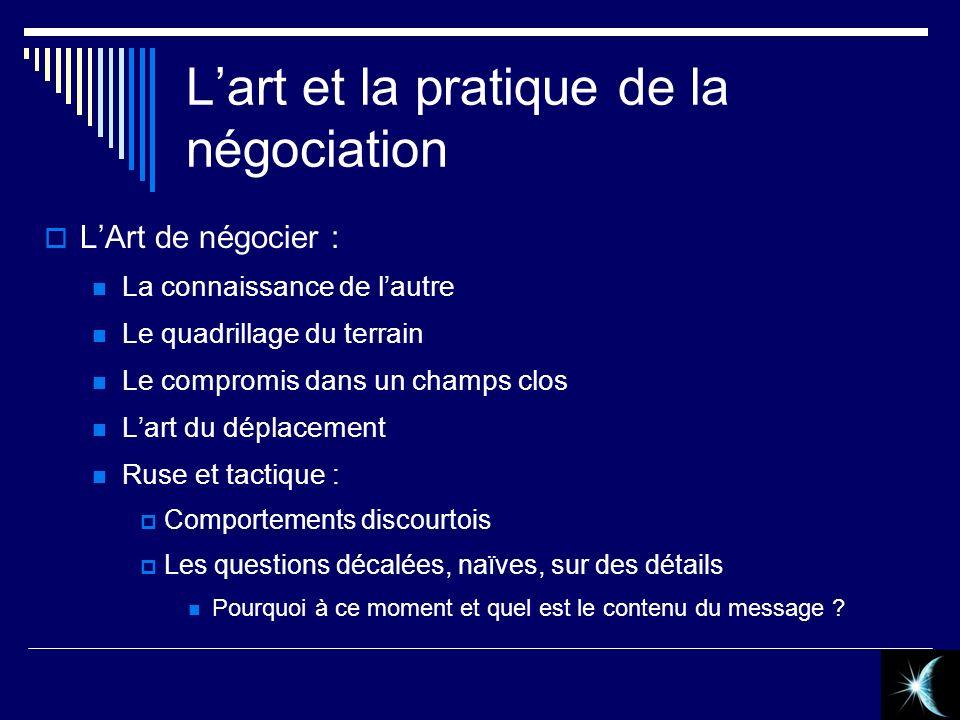 Lart et la pratique de la négociation LArt de négocier : La connaissance de lautre Le quadrillage du terrain Le compromis dans un champs clos Lart du