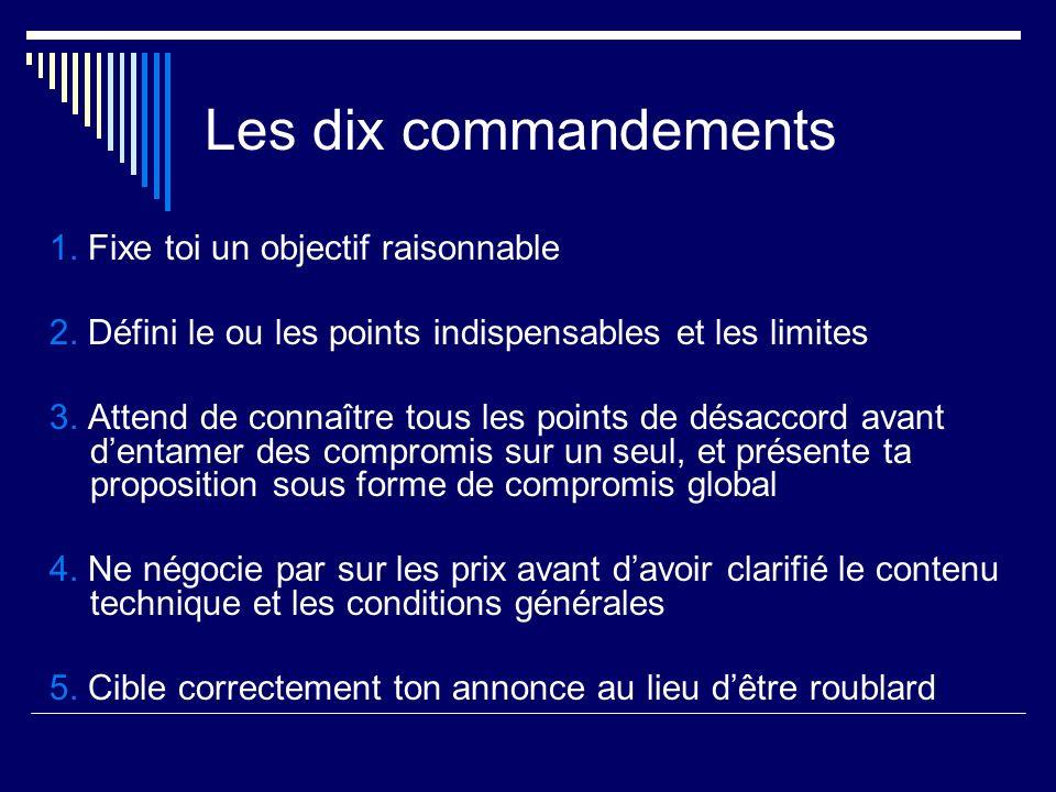 Les dix commandements 1. Fixe toi un objectif raisonnable 2. Défini le ou les points indispensables et les limites 3. Attend de connaître tous les poi