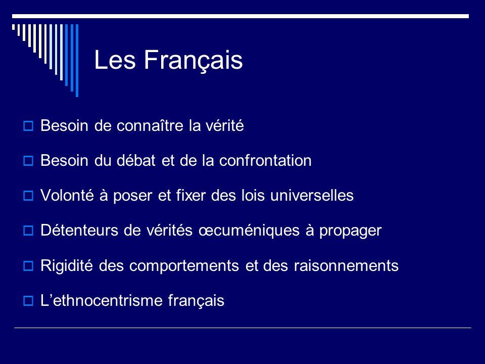 Les Français Besoin de connaître la vérité Besoin du débat et de la confrontation Volonté à poser et fixer des lois universelles Détenteurs de vérités