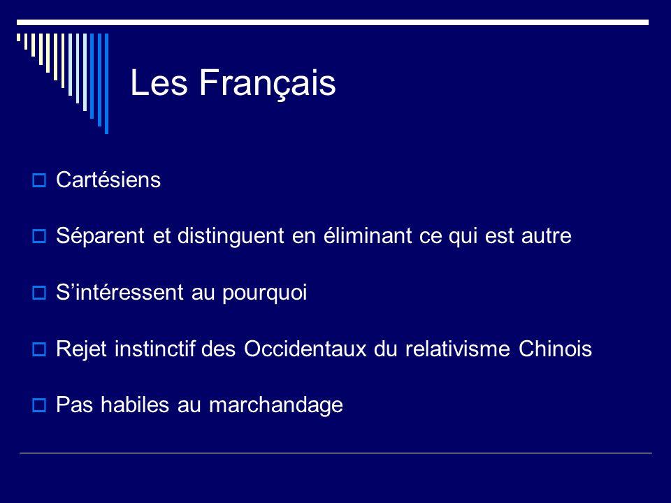 Les Français Cartésiens Séparent et distinguent en éliminant ce qui est autre Sintéressent au pourquoi Rejet instinctif des Occidentaux du relativisme