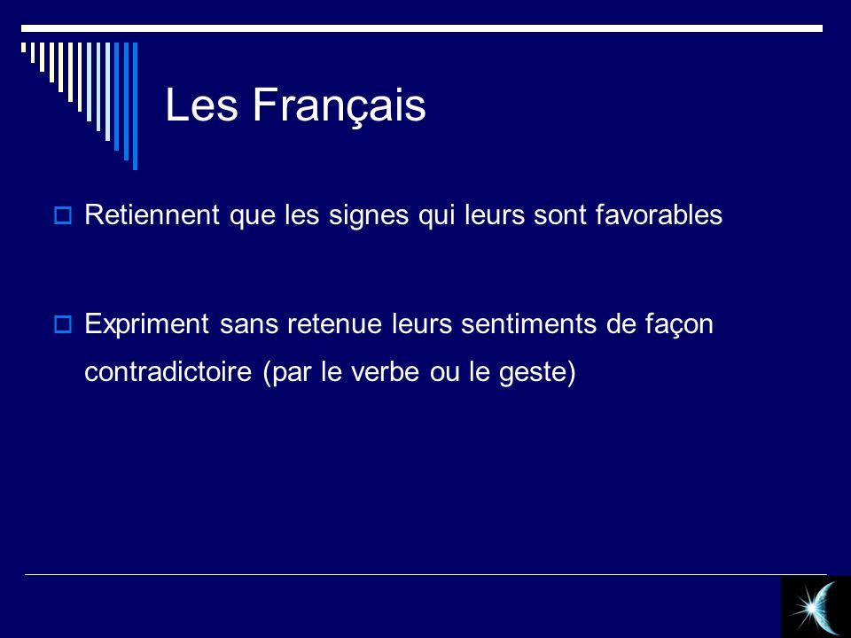 Les Français Retiennent que les signes qui leurs sont favorables Expriment sans retenue leurs sentiments de façon contradictoire (par le verbe ou le g