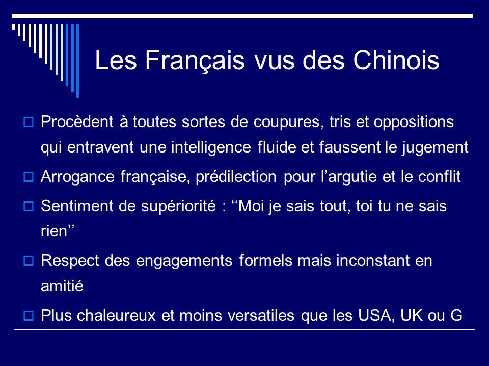 Les Français vus des Chinois Procèdent à toutes sortes de coupures, tris et oppositions qui entravent une intelligence fluide et faussent le jugement