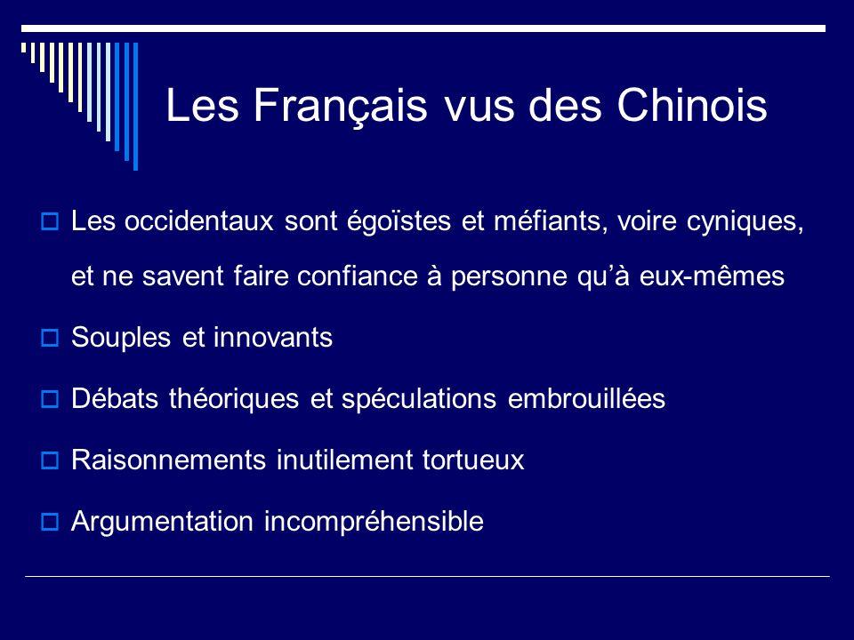 Les Français vus des Chinois Les occidentaux sont égoïstes et méfiants, voire cyniques, et ne savent faire confiance à personne quà eux-mêmes Souples