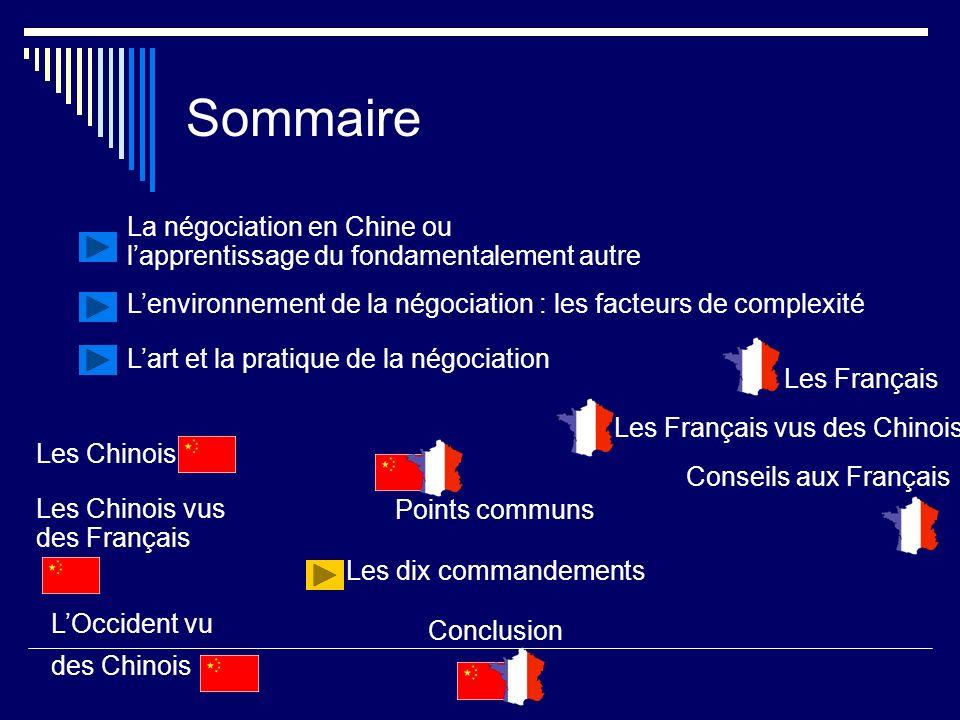 Sommaire La négociation en Chine ou lapprentissage du fondamentalement autre Lenvironnement de la négociation : les facteurs de complexité Lart et la