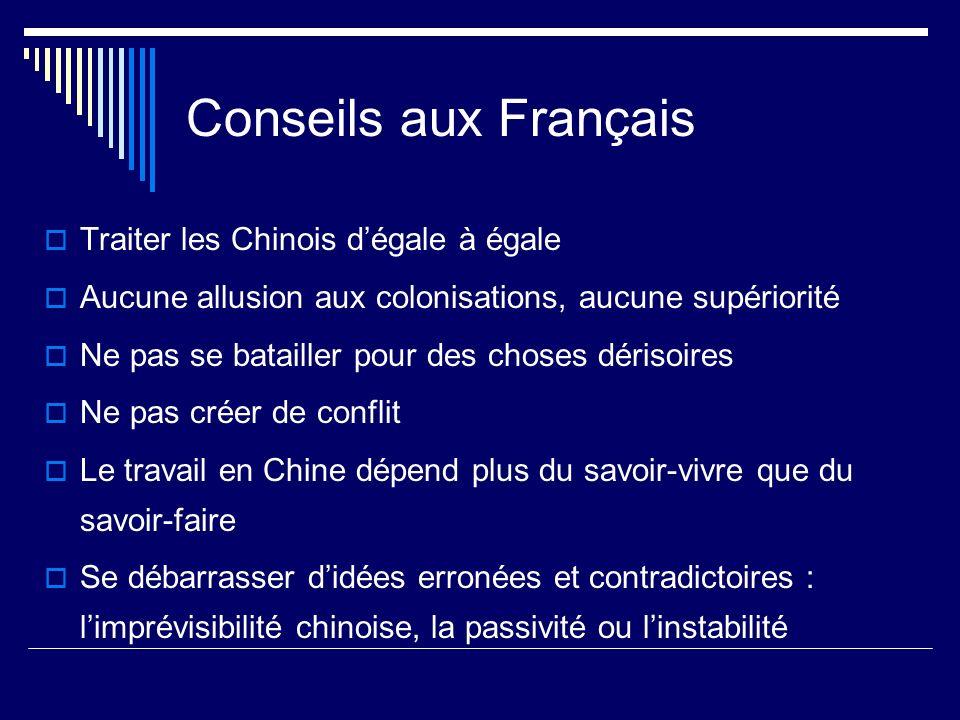 Conseils aux Français Traiter les Chinois dégale à égale Aucune allusion aux colonisations, aucune supériorité Ne pas se batailler pour des choses dér