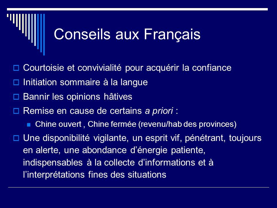 Conseils aux Français Courtoisie et convivialité pour acquérir la confiance Initiation sommaire à la langue Bannir les opinions hâtives Remise en caus