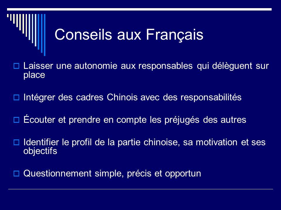 Conseils aux Français Laisser une autonomie aux responsables qui délèguent sur place Intégrer des cadres Chinois avec des responsabilités Écouter et p