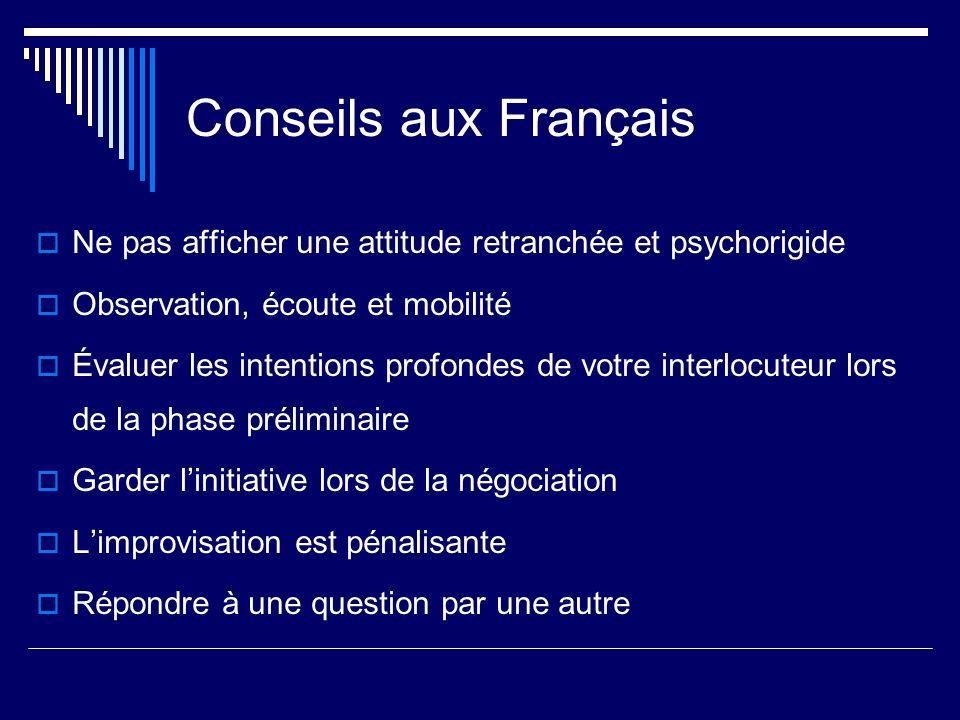 Conseils aux Français Ne pas afficher une attitude retranchée et psychorigide Observation, écoute et mobilité Évaluer les intentions profondes de votr