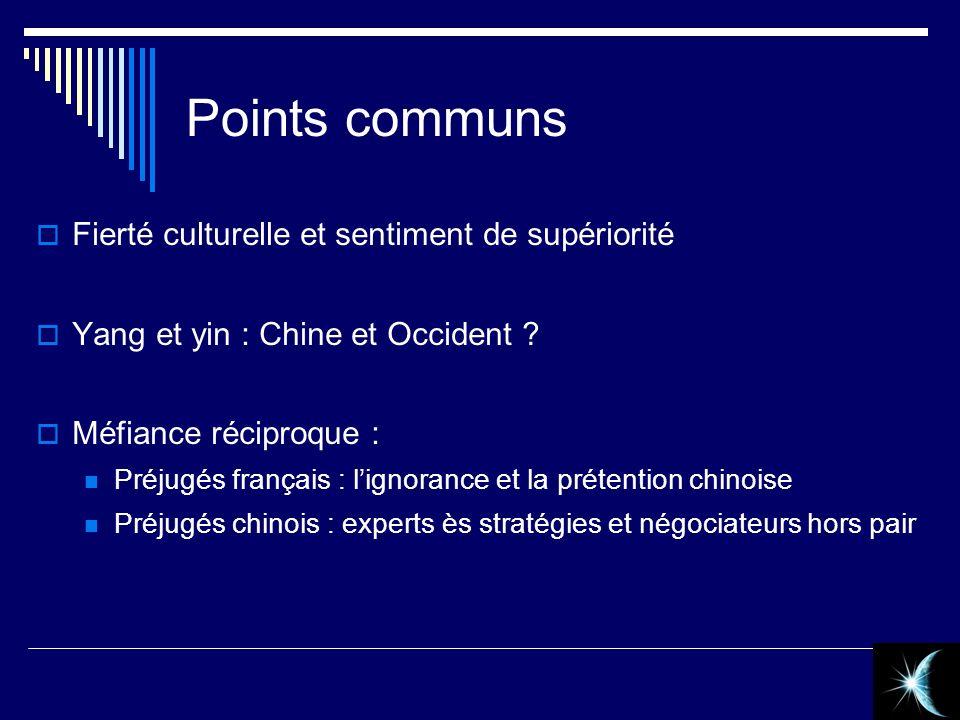 Points communs Fierté culturelle et sentiment de supériorité Yang et yin : Chine et Occident ? Méfiance réciproque : Préjugés français : lignorance et