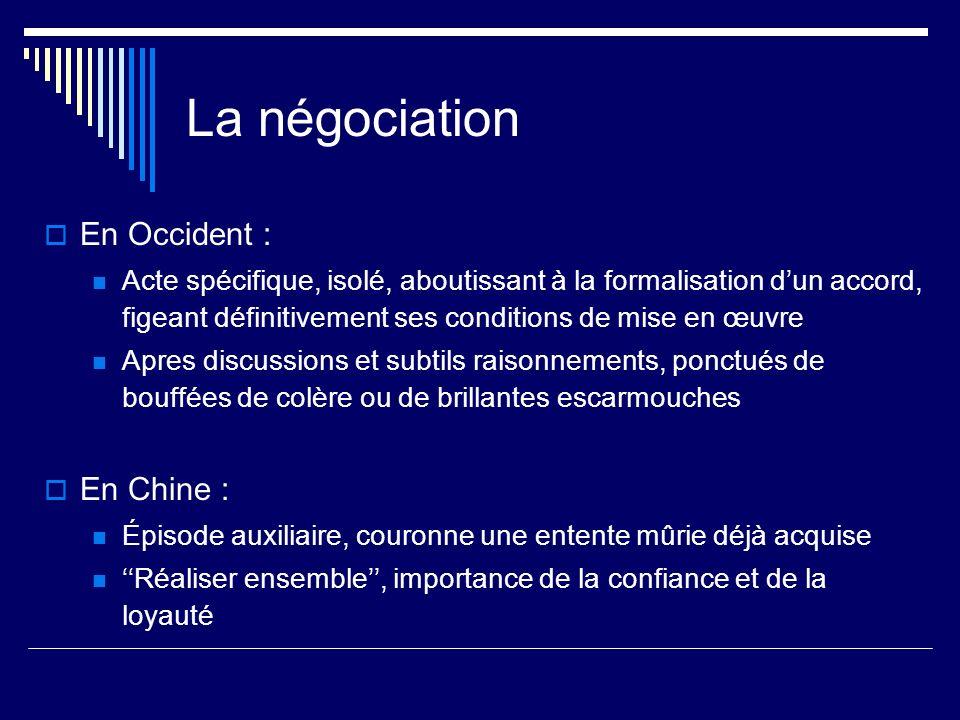 La négociation En Occident : Acte spécifique, isolé, aboutissant à la formalisation dun accord, figeant définitivement ses conditions de mise en œuvre