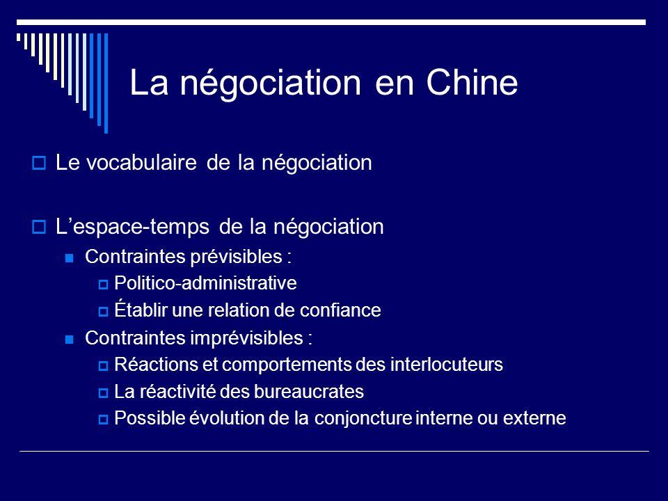 La négociation en Chine Le vocabulaire de la négociation Lespace-temps de la négociation Contraintes prévisibles : Politico-administrative Établir une