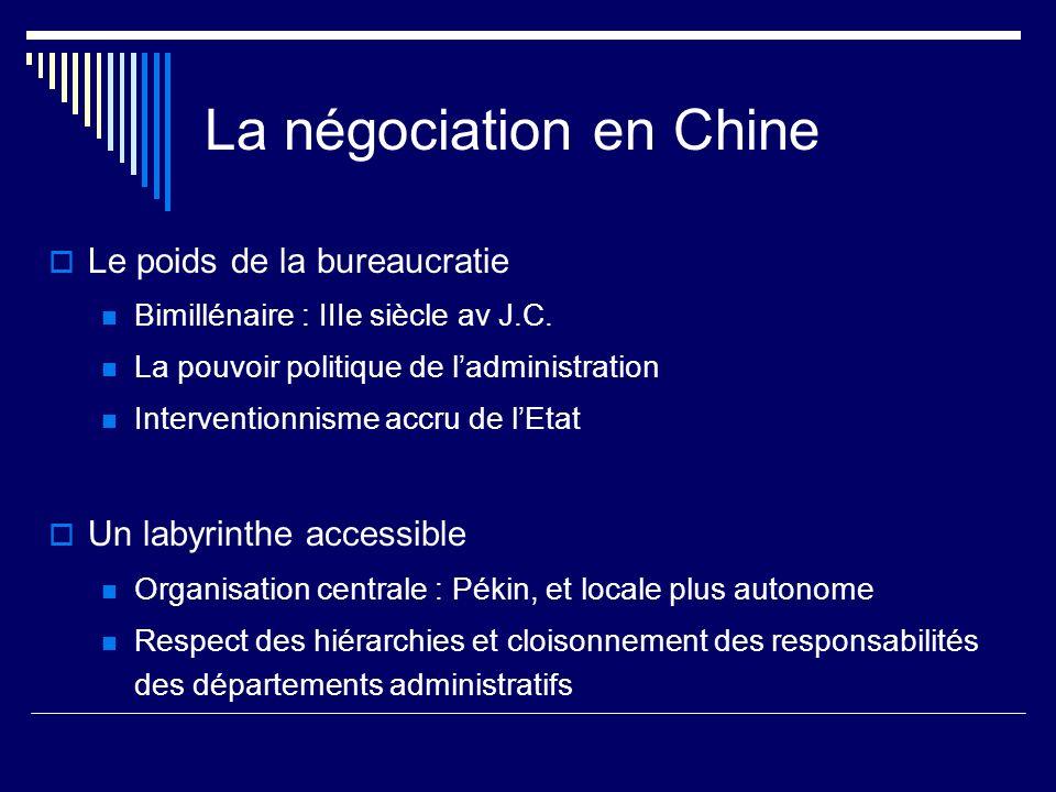 La négociation en Chine Le poids de la bureaucratie Bimillénaire : IIIe siècle av J.C. La pouvoir politique de ladministration Interventionnisme accru