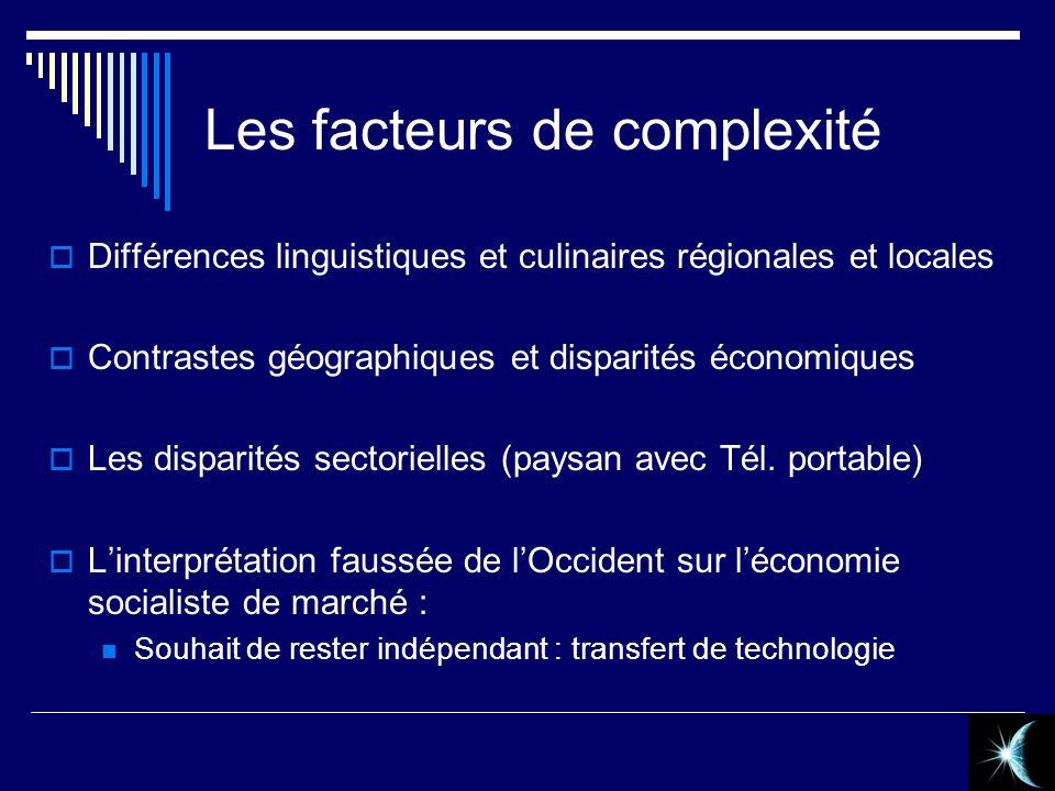 Les facteurs de complexité Différences linguistiques et culinaires régionales et locales Contrastes géographiques et disparités économiques Les dispar