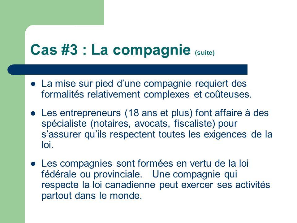 Cas #3 : La compagnie (suite) La mise sur pied dune compagnie requiert des formalités relativement complexes et coûteuses. Les entrepreneurs (18 ans e