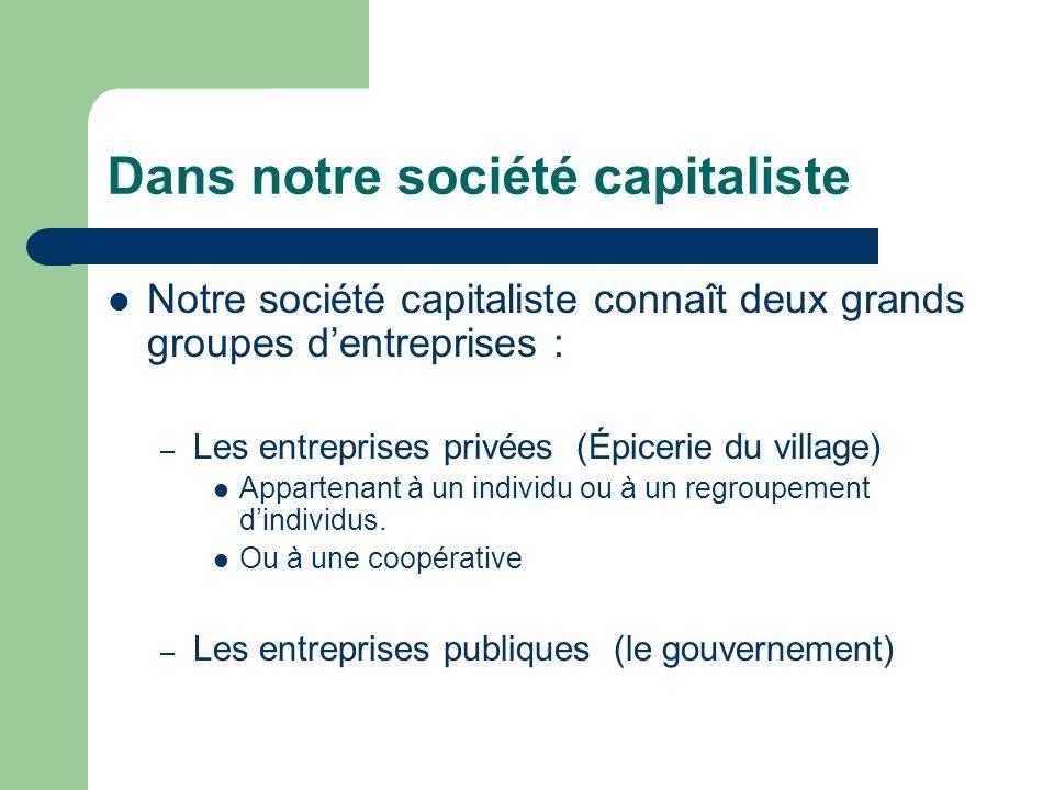 Dans notre société capitaliste Notre société capitaliste connaît deux grands groupes dentreprises : – Les entreprises privées (Épicerie du village) Ap