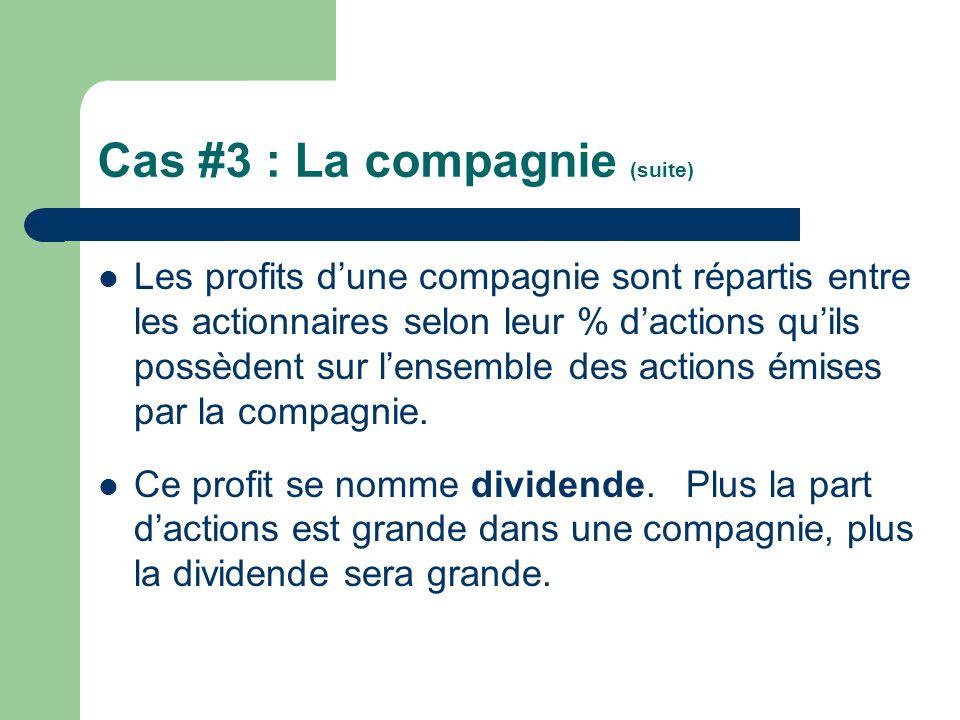 Cas #3 : La compagnie (suite) Les profits dune compagnie sont répartis entre les actionnaires selon leur % dactions quils possèdent sur lensemble des
