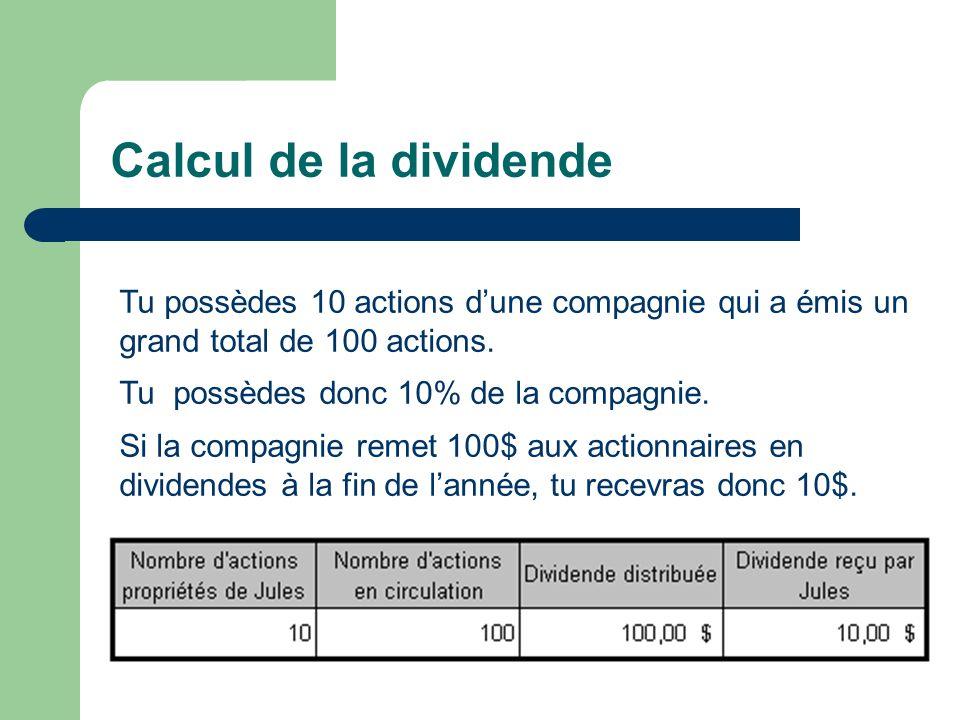 Calcul de la dividende Tu possèdes 10 actions dune compagnie qui a émis un grand total de 100 actions. Tu possèdes donc 10% de la compagnie. Si la com