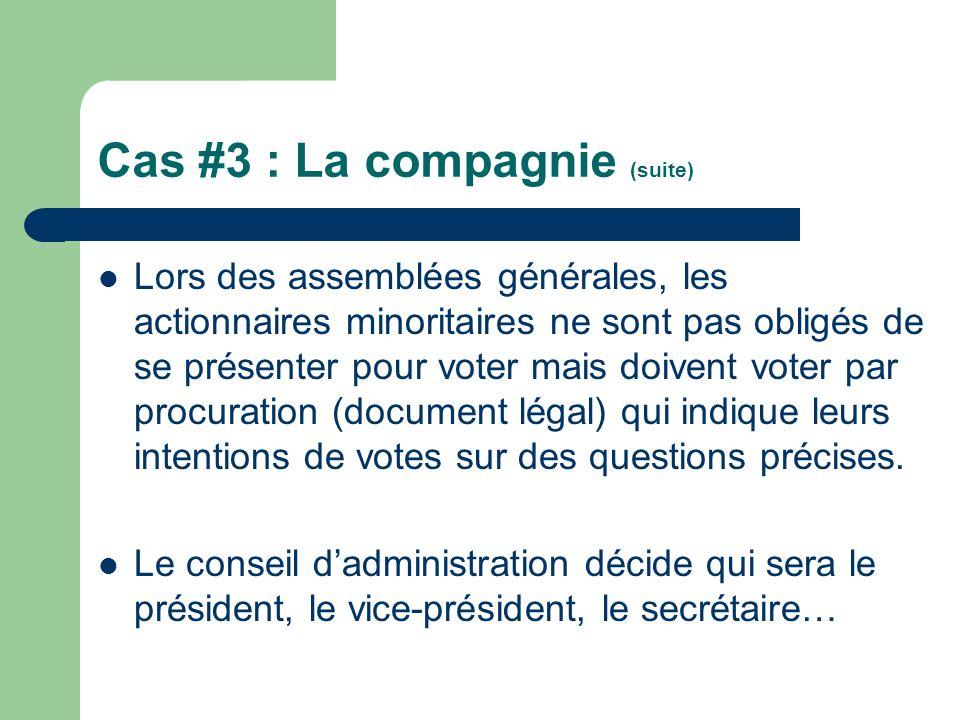 Cas #3 : La compagnie (suite) Lors des assemblées générales, les actionnaires minoritaires ne sont pas obligés de se présenter pour voter mais doivent