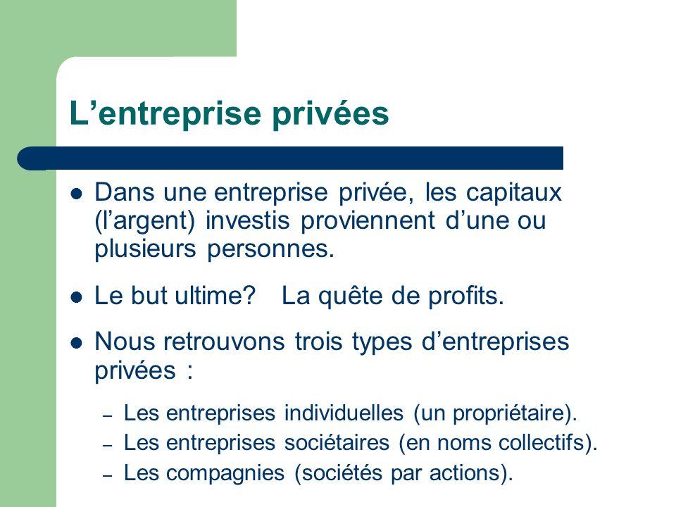 Lentreprise privées Dans une entreprise privée, les capitaux (largent) investis proviennent dune ou plusieurs personnes. Le but ultime? La quête de pr