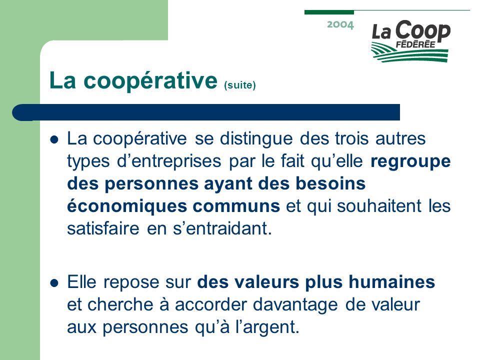 La coopérative (suite) La coopérative se distingue des trois autres types dentreprises par le fait quelle regroupe des personnes ayant des besoins éco