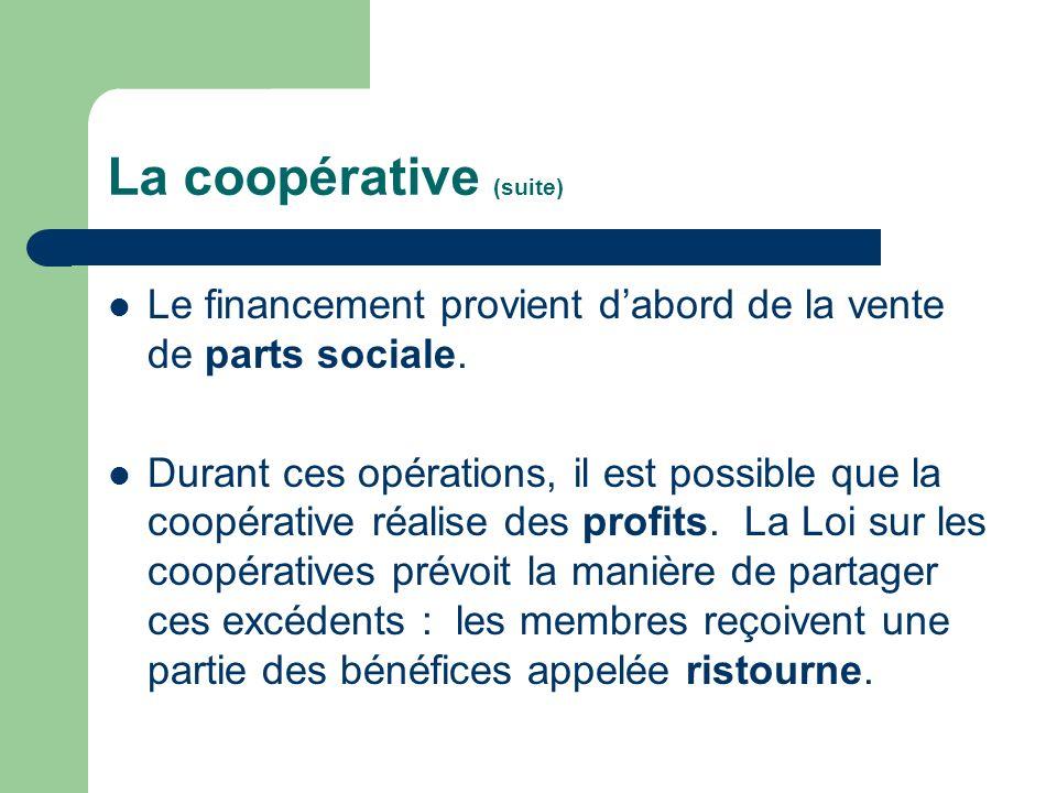 La coopérative (suite) Le financement provient dabord de la vente de parts sociale. Durant ces opérations, il est possible que la coopérative réalise