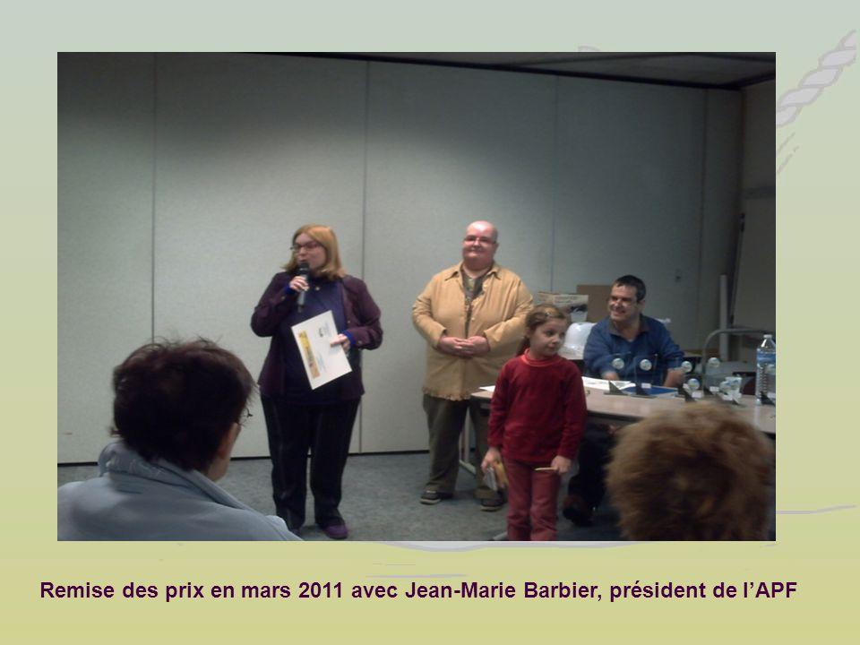 Remise des prix en mars 2011 avec Jean-Marie Barbier, président de lAPF