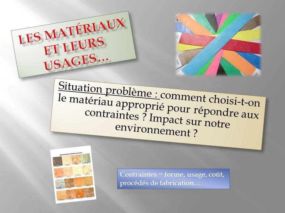 Situation problème : comment choisi-t-on le matériau approprié pour répondre aux contraintes ? Impact sur notre environnement ? Contraintes = forme, u