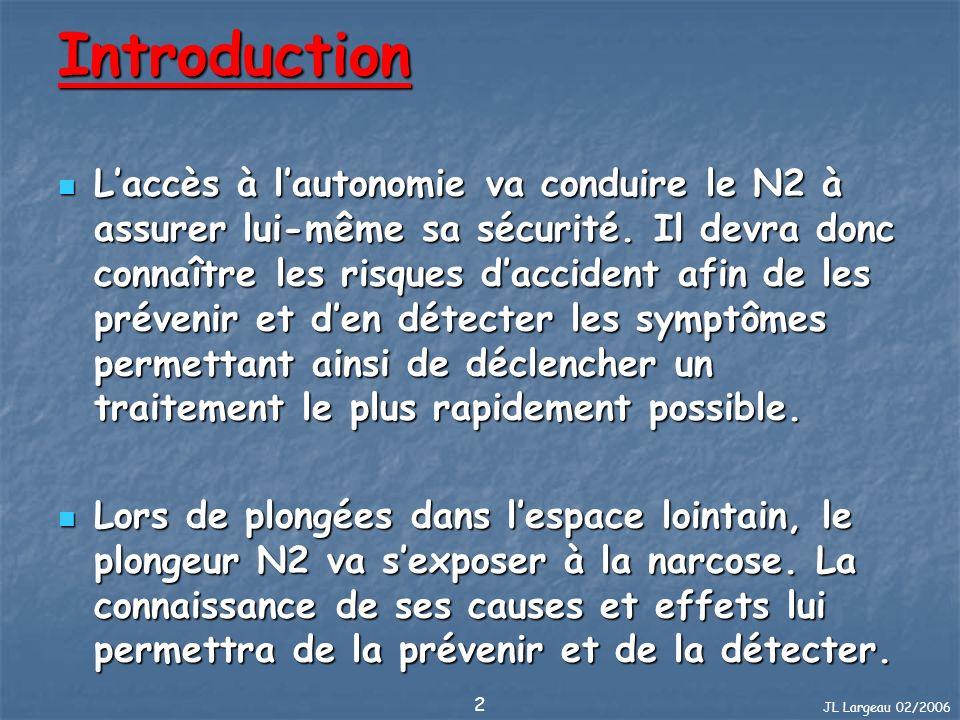 JL Largeau 02/2006 3 Plan du cours 1/2 Noyade Quelques rappels Pression et volume La saturation Barotraumatismes N2