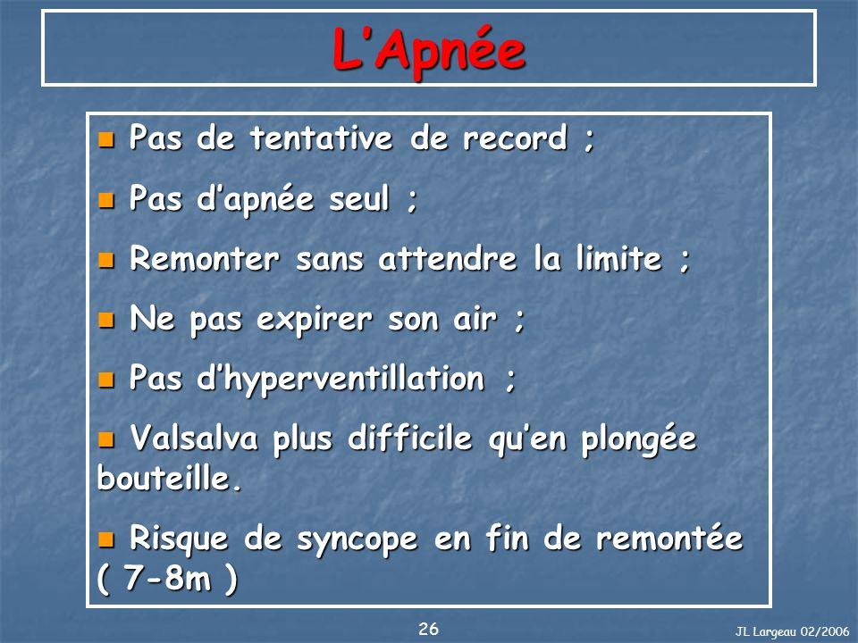 JL Largeau 02/2006 26 LApnée Pas de tentative de record ; Pas de tentative de record ; Pas dapnée seul ; Pas dapnée seul ; Remonter sans attendre la l