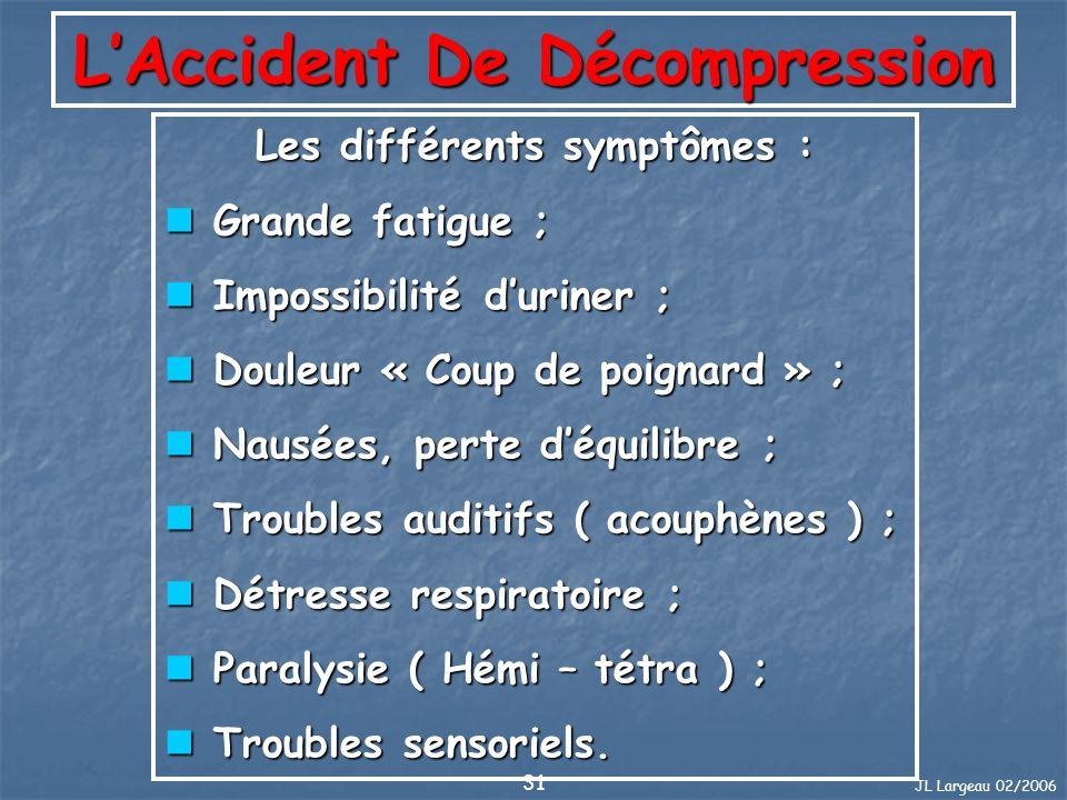 JL Largeau 02/2006 31 LAccident De Décompression Les différents symptômes : Grande fatigue ; Grande fatigue ; Impossibilité duriner ; Impossibilité du