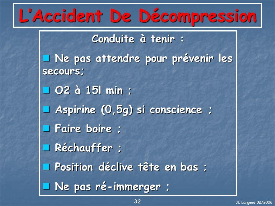JL Largeau 02/2006 32 LAccident De Décompression Conduite à tenir : Ne pas attendre pour prévenir les secours; Ne pas attendre pour prévenir les secou