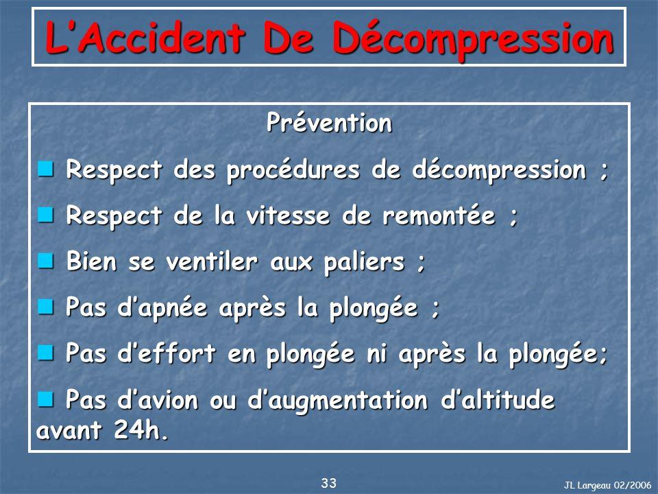 JL Largeau 02/2006 33 LAccident De Décompression Prévention Respect des procédures de décompression ; Respect des procédures de décompression ; Respec
