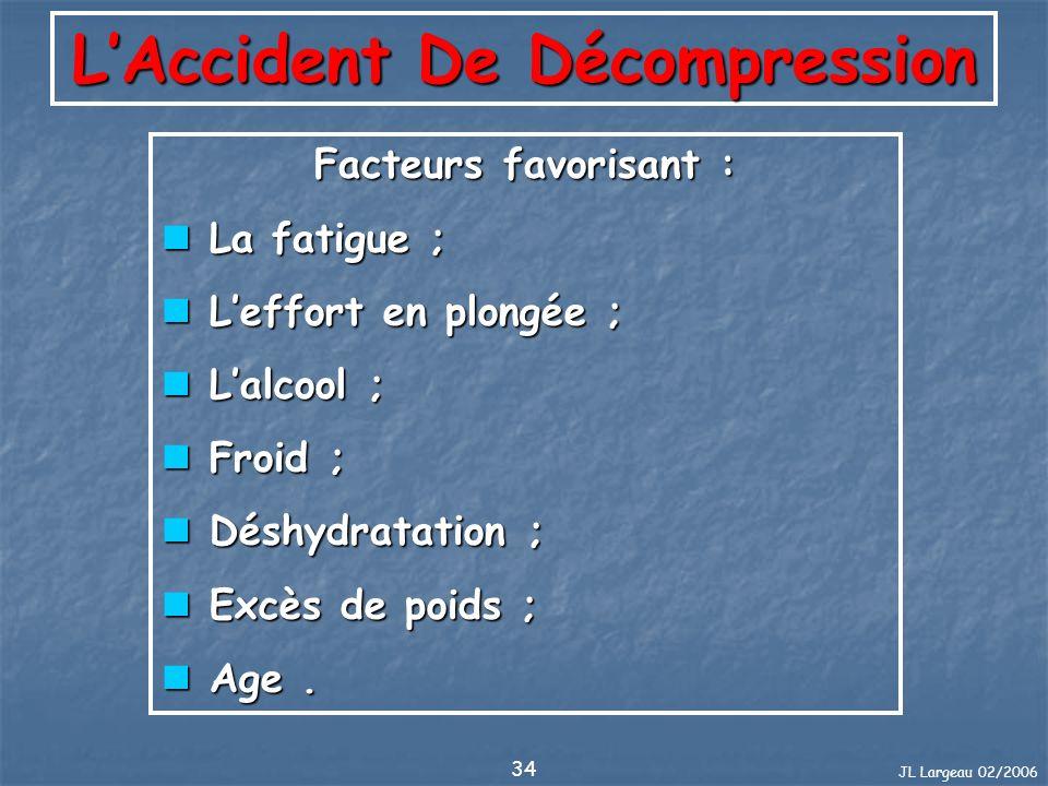 JL Largeau 02/2006 34 LAccident De Décompression Facteurs favorisant : La fatigue ; La fatigue ; Leffort en plongée ; Leffort en plongée ; Lalcool ; L
