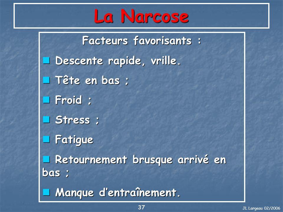 JL Largeau 02/2006 37 La Narcose Facteurs favorisants : Descente rapide, vrille. Descente rapide, vrille. Tête en bas ; Tête en bas ; Froid ; Froid ;