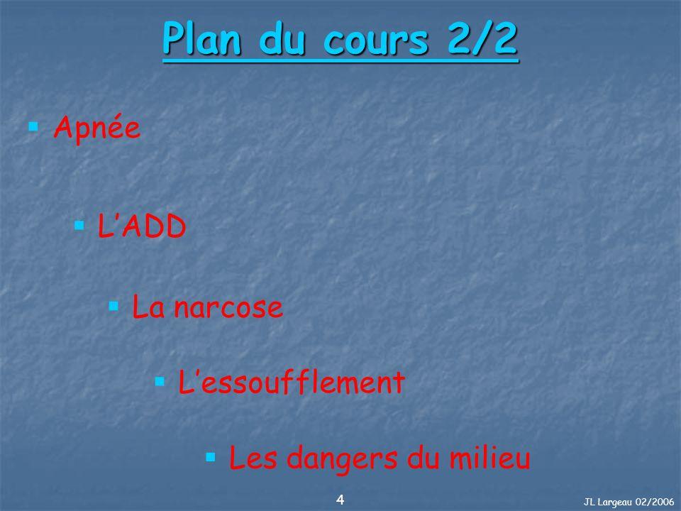 JL Largeau 02/2006 4 Plan du cours 2/2 LADD La narcose Apnée Les dangers du milieu Lessoufflement
